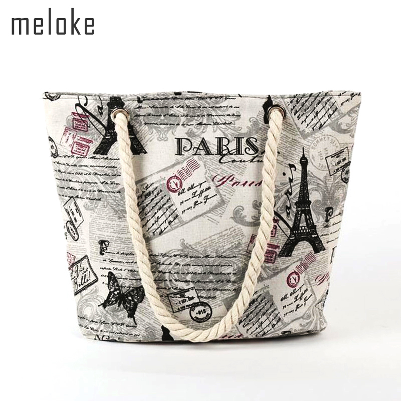 Meloke 2018 animals and letters printed canvas shopping bags cotton strap shoulder bags large beach bags book bags MN670