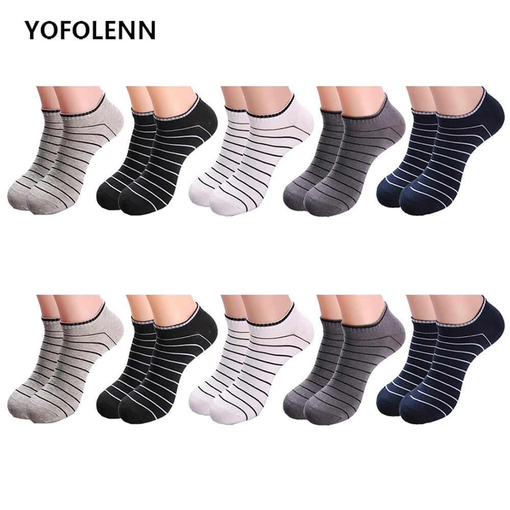 10 Par / Lot Mäns Kombomull Båtsockor 5 Färger Solid Färg Striped - Herrkläder