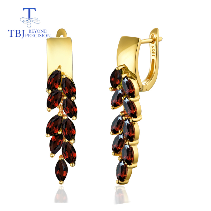 TBJ Clasp garnet earring natural mozambique gemstone 925 sterling silver fine jewelry new elegant design for