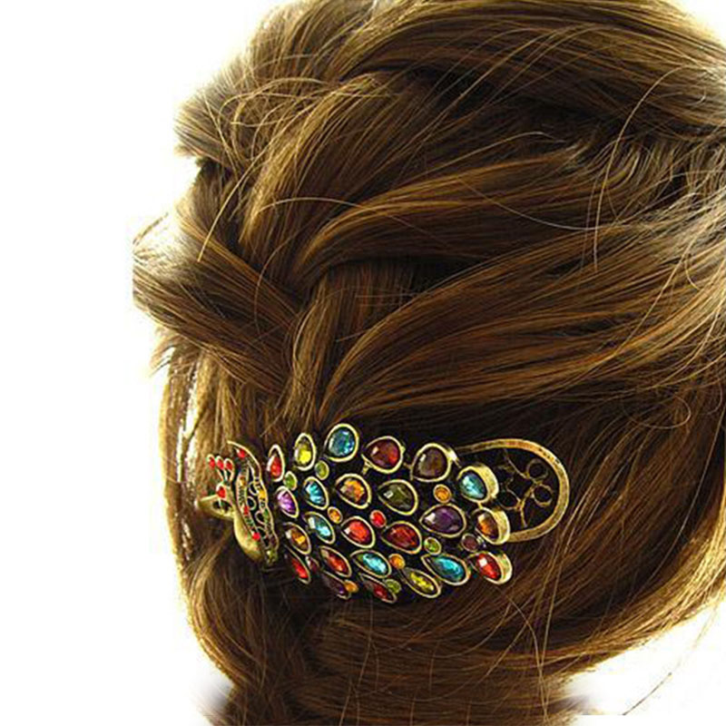 Simple 1 Pc Women Vintage Retro Colorful Crystal Peacock Hair Pin Hair Jewellery Clip Gift in Hair Jewelry from Jewelry Accessories