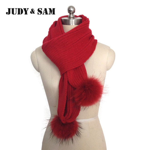 JSFUR Brand 2015 New Scarf For Women with Real Raccoon Fur Wool Blend Knitted Stripped Style Long Scarves Women Scarves
