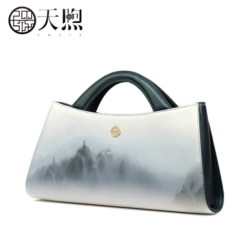 Split Leather handbag  Pmsix  2017 new Chinese wind designer original art handbag Shoulder Bags Printing small square bag twp js two way car alarm system w 1 57 lcd remote controller gray