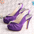 Wedopus  Handmade Sandals Ladies High Heels Party Purple Satin Double Platform Pumps Size 6