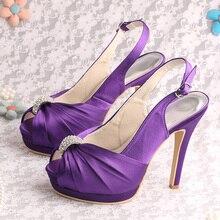 Wedopusรองเท้าที่ทำด้วยมือสุภาพสตรีรองเท้าส้นสูงพรรคสีม่วงซาตินคู่แพลตฟอร์มปั๊มขนาด6