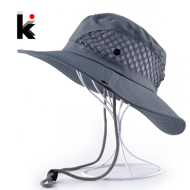 433bceb4 Summer Bucket Hat Breathable Mesh Beach Hats Man Wide Brim Sun Gorra Mujer  Men's Outdoors Foldable UV Protection Fishings Caps