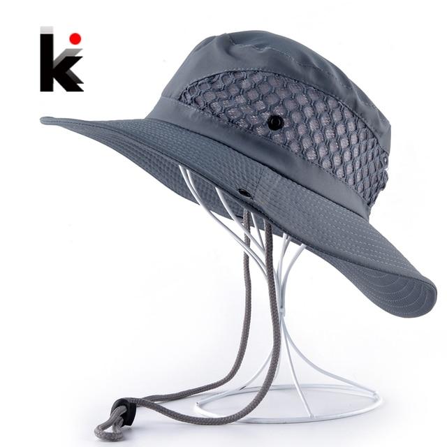 Verano cubo sombrero transpirable malla playa sombreros hombre ala ancha  Gorra de sol Mujer hombres al adb9d8e7d37