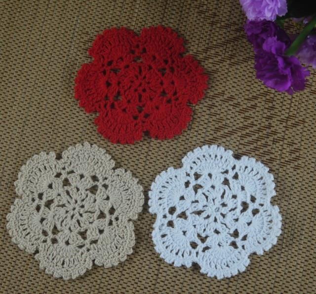 Free Shipping Retro Pattern Crochet Doily Crochet Cup Mat Applique