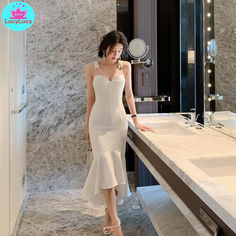 2019 Summer New Korean Women's Temperament V-neck Slim Wrapped Chest Fishtail Strap Dress Sleeveless   Sheath