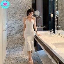 2019 summer new Korean womens temperament V-neck Slim wrapped chest fishtail strap dress Sleeveless  Sheath