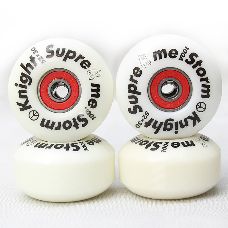 Free shipping 100A 52*30mm SUPRE ME skateboard wheels ABEC-9 skateboard bearings skateboard spacers men women skateboard wheel
