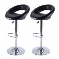 Set Of 2 PU Leather Adjustable Swivel Bar Stool Hydraulic Chair Barstools Black Free Shipping HW51715