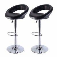 Set Of 2 PU Leather Adjustable Swivel Bar Stool Hydraulic Chair Barstools Black Free Shipping HW51715