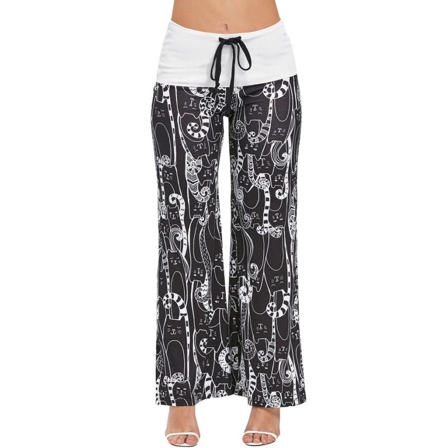 #4 2018 NEW Fashion Women Cartoon Cat Print Bottoms Drawstring Trousers High Waisted Wide Leg Pants