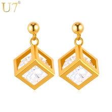 U7 Сереги С Камнем Золотой Цвет Ювелирные Изделия Кристалл Сережки