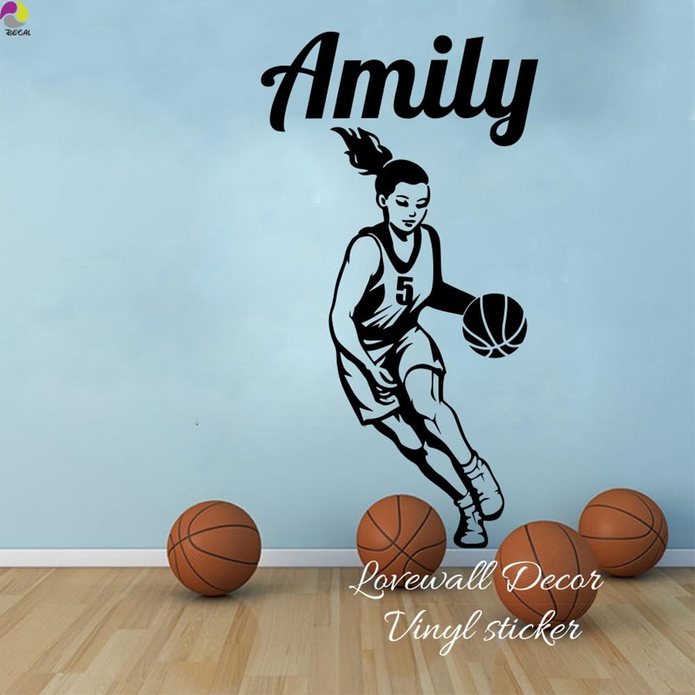 Custom Basketball Girl Name Wall Sticker Girl Room Baby