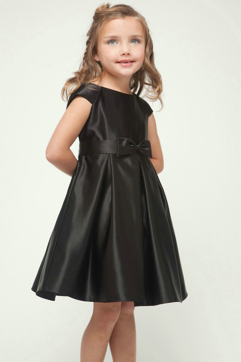 Simple Black Satin A Line Flower Girl Dresses High Quality