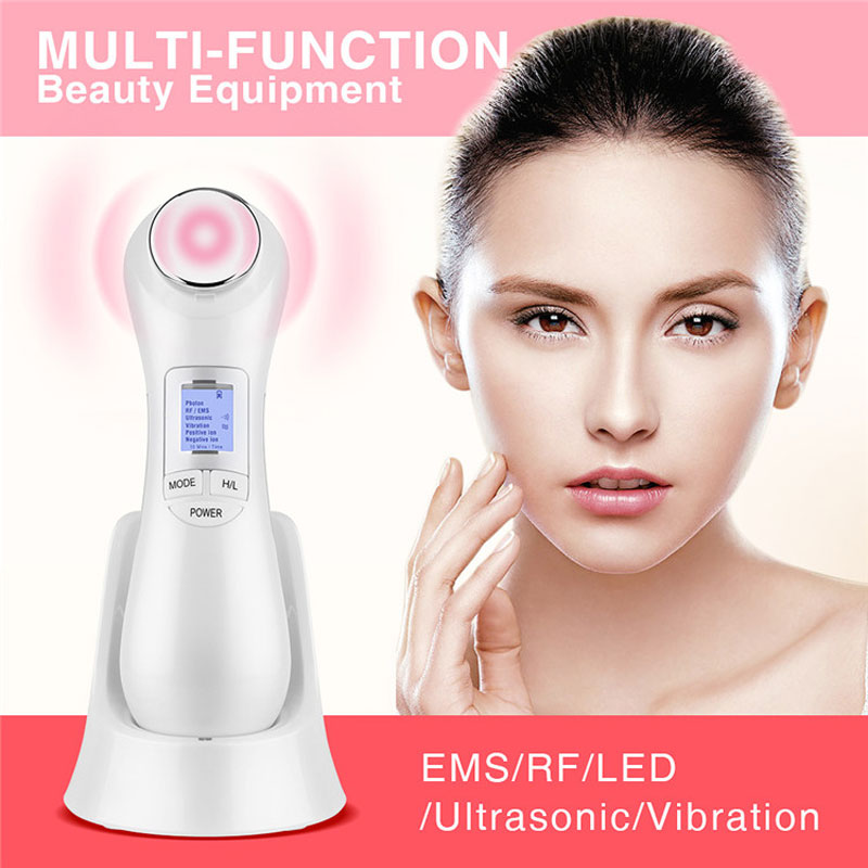 Radio Frequency Face Massager RF EMS Mesoporation Electroporation LED Photon Beauty Device Salon Lifting Tightening Facial Skin rechargeable rf radio frequency skin tightening ems face lift led photon skin rejuvenation beauty device free shipping