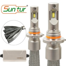 Suntur 9012 HIR2 CanBus Error Free LED Fanless Headlight Bulb 100W 10000LM 6000K White suntur 100w 9004 hb1 10000lm hi low beam light 6000k canbus error free led fanless headlight conversion kit white