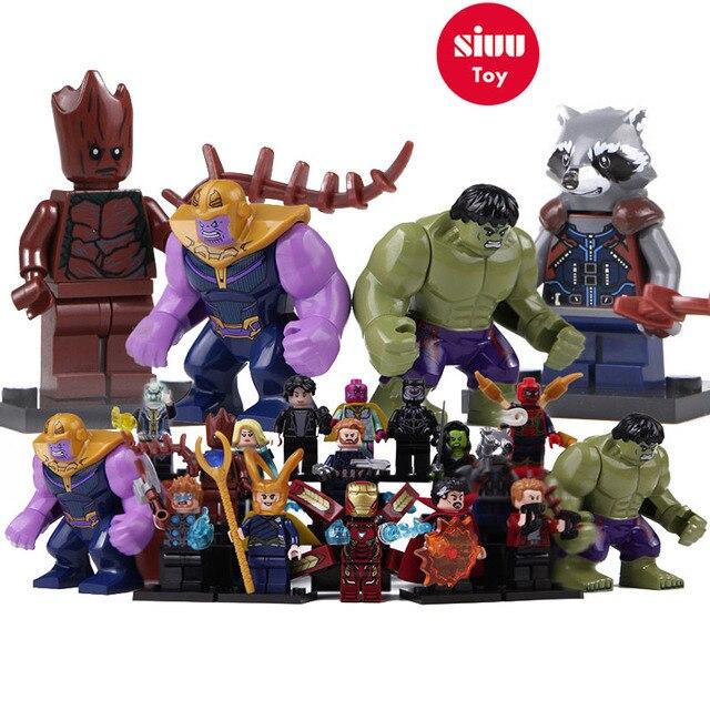 Superheros lEGOEDS Groot Infinito Guerra Homem De Ferro Avengers Marvel Thanos Thor Homem-Formiga Capitão Marvel Hulk Loki Building Blocks brinquedos