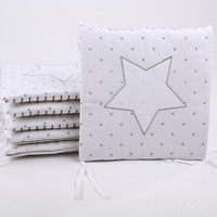 6Pcs Sets Cotton Baby Bed Bumper Around Embroidered Star Infant Crib Bumper Breathable Baby Crib Protection