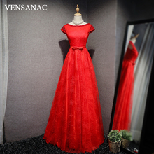 VENSANAC 2018 Pearls O Neck Lace Embroidery A Line Long Evening Dresses Party Beading Short Sleeve Bow Sash Prom Gowns