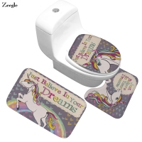 Zeegle Floor Mat Bath Mat Unicorn Bathroom Carpet Absorbent Toilet Rug Anti slip Bathroom Decor Rug Door Mat