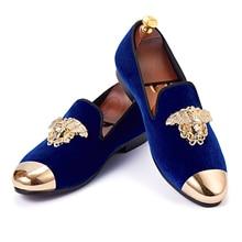 Harplunde новинка Мужские модельные туфли из металла Cap Toe Квартиры синий бархат Лоферы тапочки Размер 6-14