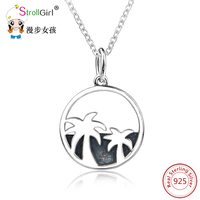 NEW Hawaii Style Necklace 925 Sterling Silver Coconut Trees Pendant Necklaces For Women Tree of Life Chain Round Choker Jewelry
