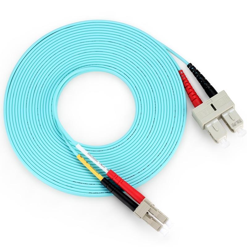 10 Meters LC-SC Fiber Optic Cable 10G MultiMode Duplex Patch Cord OM3 50/125
