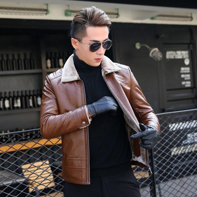 Degli uomini del cuoio di modo casuale più di velluto ispessimento Inverno uomini di mezza età in pelle breve paragrafo giacca di pelle bavero del 2019 - 2