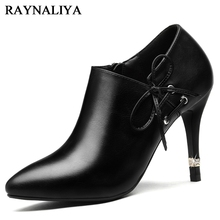 2018 Spring Autumn Black Mature Ol High Heels Genuine Leather Women Deep Pumps Lace-up Shoes Woman YG-A0094 цена