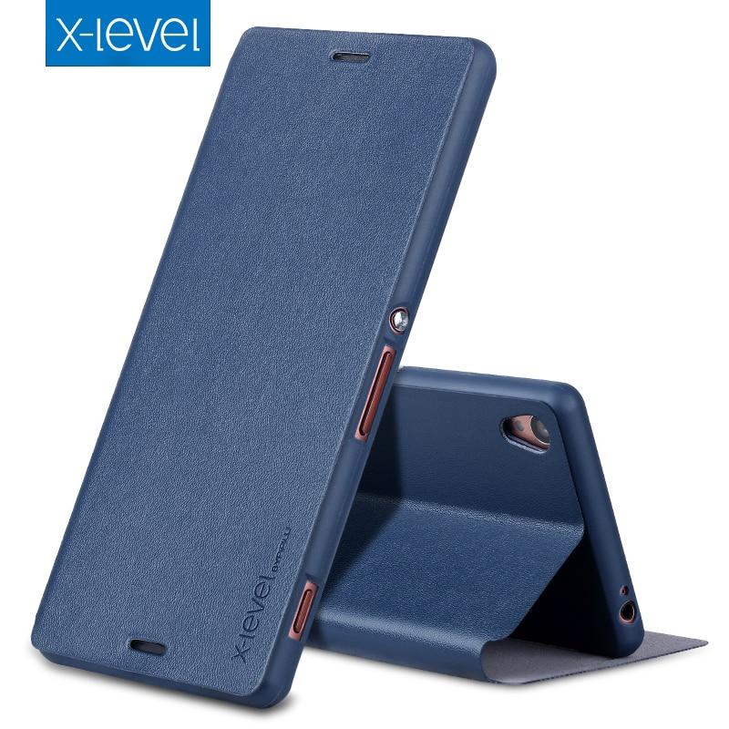 X-Niveau De Luxe Business Style PU Étui En Cuir pour Sony Xperia Z3 Flip Couverture pour Sony Z3 D6603 D6643 D6653 D6616 Stand Cas couverture