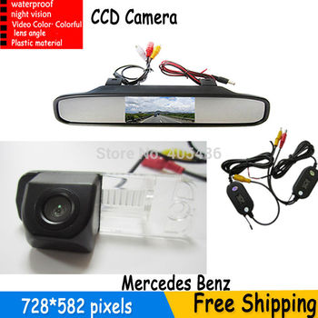 4.3' Mirror Monitor Parking + Car Rearview HD CCD Camera for Benz C-Class W203 E-Class W211 CLS-Class 300 W219 R350 R500 ML350