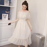 Bohemian Women dress O Neck Strapless Chiffon Super Word Shoulder Holiday Tees In Long Dresses White Pink A1827