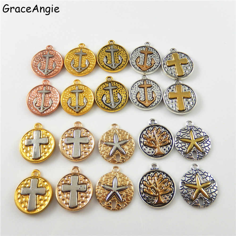 18Pcs/Lot Vintage Mixed Charms Jewelry Making DIY Handmade Metal Bracelets Necklace Cross Anchor Life Tree Starfishs Wholesale