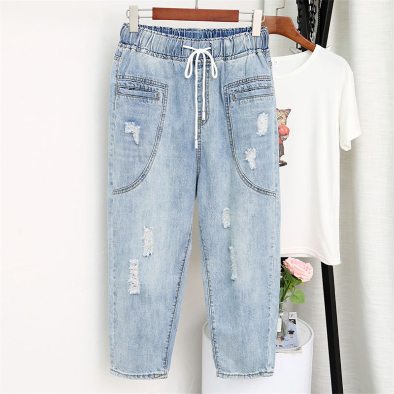 5XL Denim Jeans Women High Waist Stretch Denim Mom Jenas Plus Size Streetwear Loose Ripped Hole Jeans Female Harem Pants Q1469