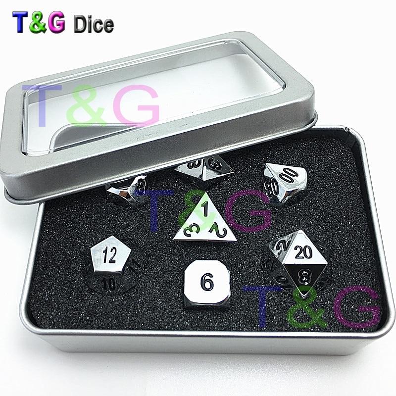 High Quality Metalic 7 RPG Dice set d4 d6 d8 d10 d% d12 d20 side Poly Digital Dice playi ...