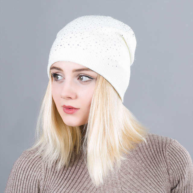 14fcf0ef645bf Online Shop Winter Women s Shiny Diamond Hat Knitted Wool Beanie Female  Skullies Casual Mask Ski Caps Thick Warm Hats for Rhinestones Hat