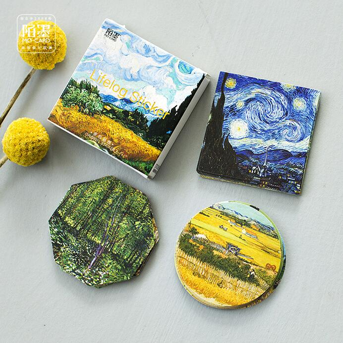45 Pcs/pack Meet Van Gogh Reproduce Classic Decorative Stickers Adhesive Stickers DIY Decoration Diary Stickers Box Package