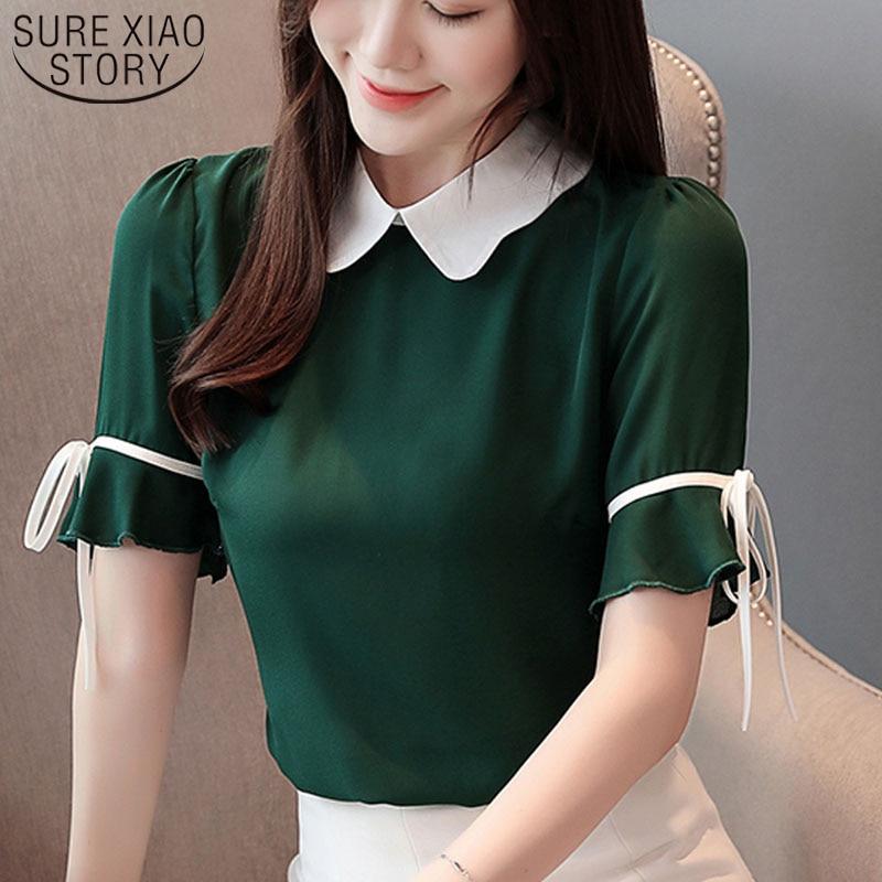 2019 Chiffon   Blouse   Women Clothing Short Bow Solid Peter Pan Collar Ladies Tops   Blouse     Shirts   Korean Fashion Clothing 3463 50