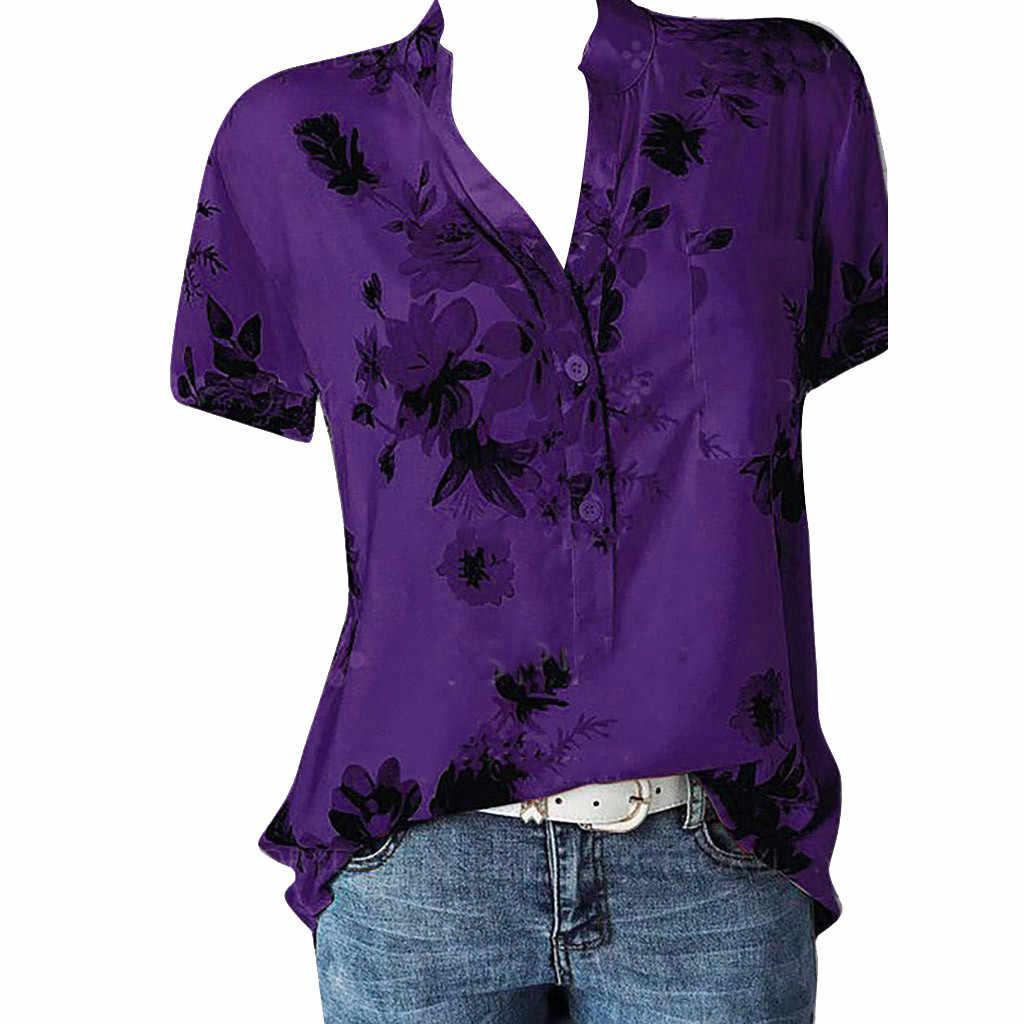 Гавайская Летняя женская блузка с карманом плюс размер 5XL рубашка с коротким рукавом легкие Женские топы с цветочным принтом с v-образным вырезом Женские Camisas Mujer