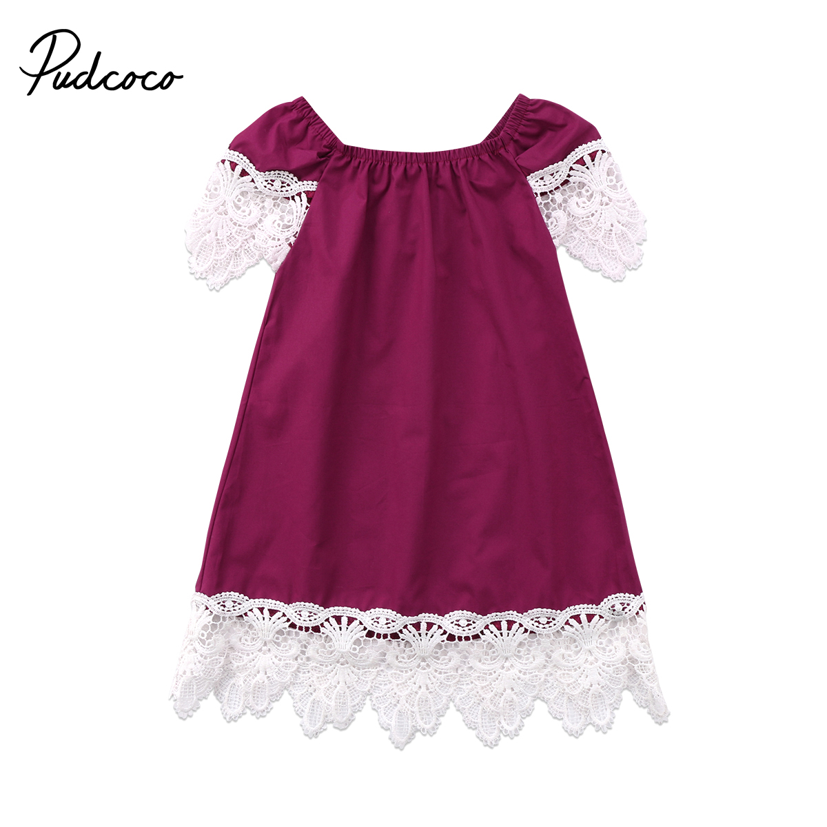Princess Girl Dress Kids Baby Girls Lace Off Shoulder Party Summer Dress Toddler Baby Girls Purple Sundress Clothes ems dhl free shipping toddler little girl s 2017 princess ruffles layers sleeveless lace dress summer style suspender