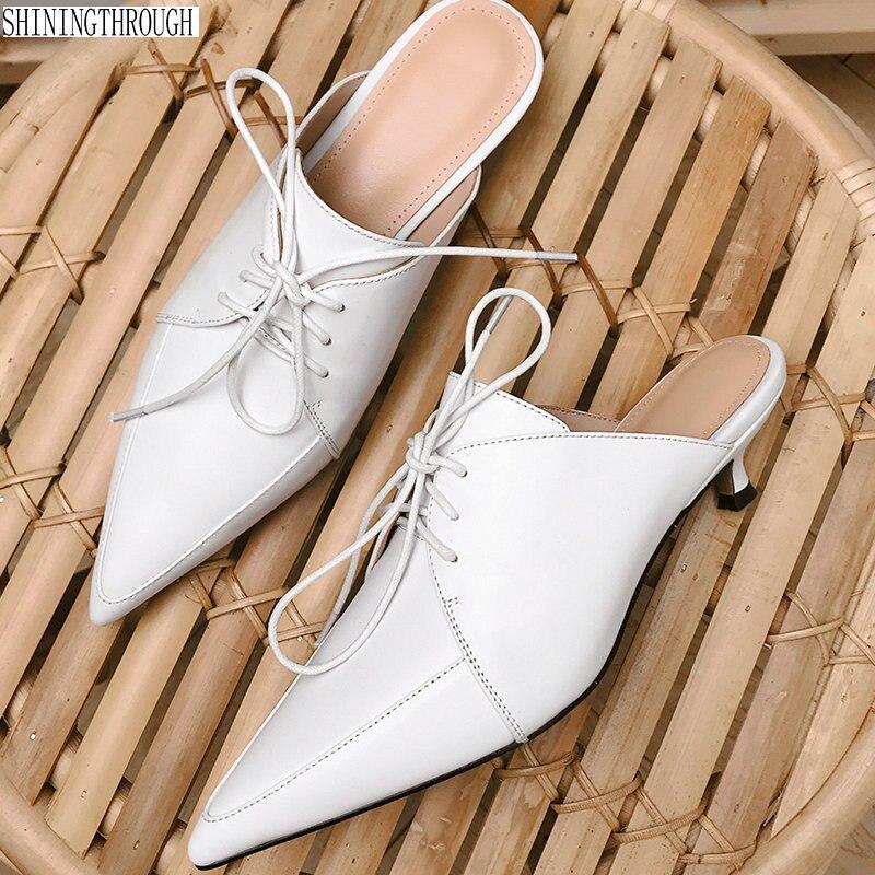 ใหม่ 201 รองเท้าแตะส้นสูงสำหรับสตรีสีดำของแท้หนังผู้หญิงสไลด์รองเท้าแฟชั่นออนไลน์ผู้หญิงหนัง Mules-ใน รองเท้าใส่ในบ้าน จาก รองเท้า บน   1