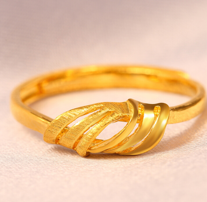 Fine Jewelry Pure 24k Yellow Gold Ring Unique Knot Design Adjustable Ring - 2