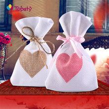 Sacs cadeaux en toile de Jute 9.5x14.5 Cm, 12 pièces/lot, sacs à cordon, emballage pour cadeaux et cadeaux de mariage, fournitures de fête