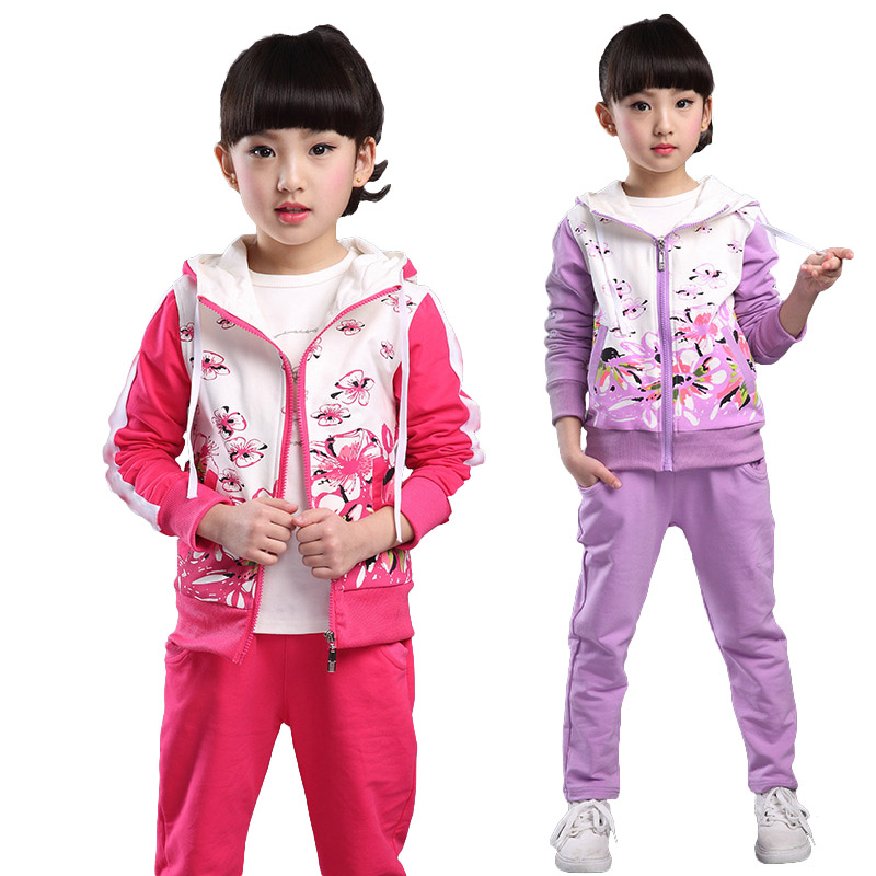 V-tree Spring Autumn teenage girls clothing set zipper sports clothes for girls children tracksuit kids sport suit 4-12T