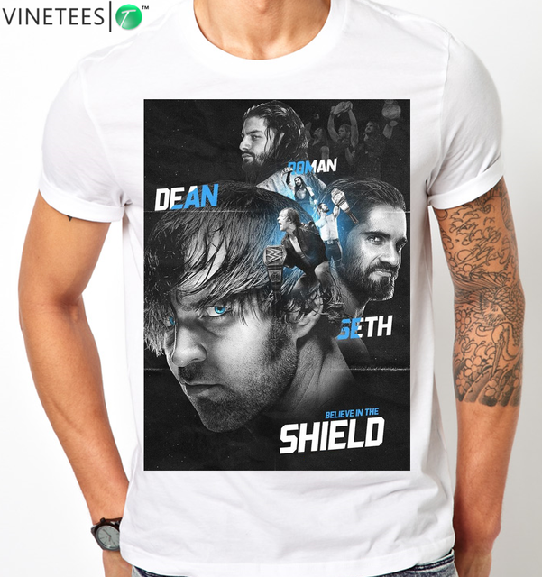 US $12 77 8% OFF|THE SHIELD REUNITED ROMAN REIGNS DEAN AMBROSE SETH ROLLINS  MENS KIDS T Shirt 100% Cotton Short Sleeve O Neck Tops Tee Shirts -in