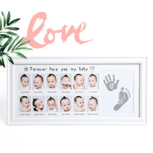 Baby Hand and Foot Print Hands and Feet Mold Maker Wooden Photo Frame Fingerprint Mud Set Baby Growth Memorial Gift 0-12 Months
