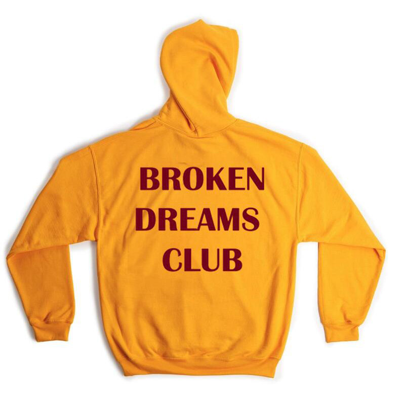 Harajuku BROKEN DREAM CLUB Hooded Sweatshirt Autumn Winter Women Men Unisex Hoodie Black Yellow Autumn Winter Women Hoody