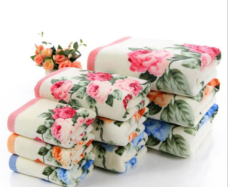 75*140cm Floral Pattern Cotton Bath Towels for Adults,Beach Terry Bath Towels Bathroom,Flower Bath Towel,Serviette de Bain flower bath towels bath towelpattern bath towels - AliExpress